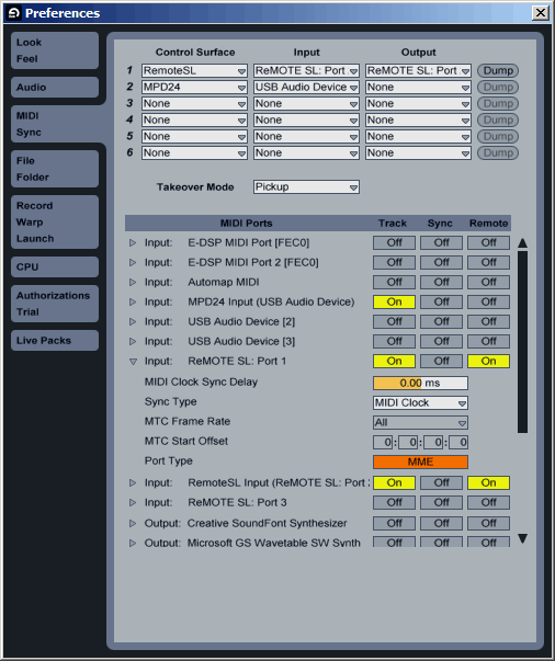 Change all your MIDI port types from DirectMusic to MME